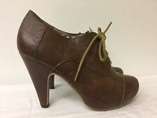 Hot Tomato women lace up brown heels -man made materials -size 8M