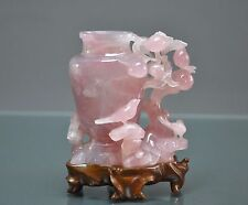 19th C. Chinese Carved Rose Quartz Table Display Vase With Original Stand.