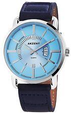 Akzent Premium XXL Herrenuhr blau Leder Armbanduhr mit Datumsanzeige Neu