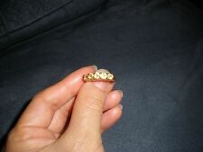14K SOLID YELLOW GOLD YELLOW STONE RING, SIZE 8.75