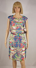 SIGNATURE ROBBIE BEE Size 12 Multi Color Watercolor Print Belted Dress NEW $69