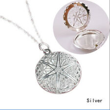 Hollow Round Pendant Necklace 925 Sterling Silver Photo Picture Locket