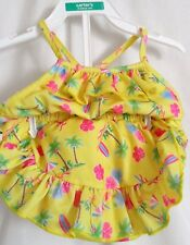 GIRLS 18 MONTH YELLOW TROPICAL 2 PCS SWIM SUIT LINED BOTTOMS EUC ~ PLAY BABY