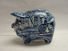 JAMES KENT CHINA STAFFORDSHIRE, ENGLAND - OLD FOLEY BLUE TRANSFERWARE PIG BANK