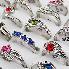 2015 New 10pcs Mix Style CZ Rhinestone Silver Fashion Women Rings Wholesale Lots