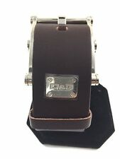 "DOLCE & GABBANA Brown Leather Silver Buckle Bracelet 7"" to 9""  Retail  $325.00"