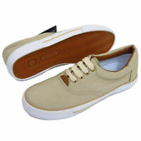MENS Beige LACE-UP Canvas TRAINERS Pumps PLIMSOLLS Flat CASUAL Shoe UK Size 7-12