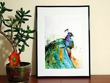 Water color colour peacock amazing - A4 Glossy Poster - FREE Shipping