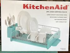 Kitchen Aid 3 Pc Dish Drying Rack & Silverware Caddy Dish Drainer Board Aqua Sk