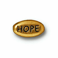 ANTIQUED GOLD PEWTER HOPE MESSAGE WORD BEAD 4 BEADS PB28