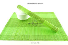4 Handmade Bamboo Wood Placemats Table Mats, New Collection, Green-Green P085