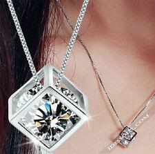 Halskette mit Anhänger Silber Diamant Stein Damen Kette Collier lang LA FERANI
