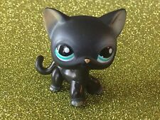 Littlest Pet Shop LPS Black Short Hair Cat Blue Aqua Eyes #994