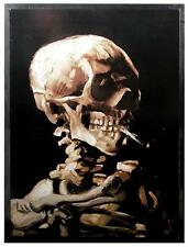 VAN GOGH SKULL OF A SKELETON WITH BURNING CIGARETTE STAINED ART GLASS PANEL