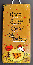 Stained Sign Personalized CHICKEN Rooster COOP SWEET COOP Name Family Plaque
