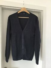 BOGGI - mens 100% WOOL NAVY V NECK CARDIGAN size L MADE IN ITALY