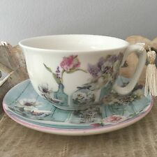 FINE CHINA VINTAGE DESIGN TEA CUP & SAUCER GIFT SET POTTING SHED DUCK EGG BLUE