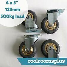 4 x 5'' 125mm Rubber Swivel Caster Wheels Castor Heavy Duty 500kg Load