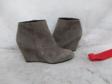 VIA SPIGA Gray Suede Leather Wedge Heel Zip Ankle Boots Size 7 M