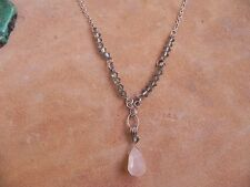Sterling Silver Y Necklace with Gray Swarovski Crystals & Faceted Rose Quartz