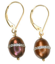 14K Yellow Gold Chocolat Culture F-W-Pearl Diamonique Dangle Earrings