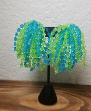 vintage blue & green floral plastic chacha waterfall  clip on earrings