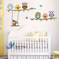 Colourful leaf  cute Owl squirrel  nursery Kid Baby Girl Boy wall Decal sticker