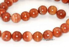 10MM RED ZEBRA JASPER GEMSTONE RED BROWN STRIPE ROUND 10MM LOOSE BEADS 7""
