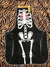 Gothic Chef Bib Halloween--SKELETON BONES COSTUME APRON--Hostess Gift Decoration