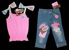 My Vintage Baby Designer Girls Pink Sparkle Bow Top Cropped Blue Jeans Pants 5