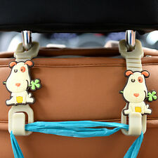 Pair Car Interior Parts Seat Bag Cute Dog Hook Headrest Accessory Hanger Holder