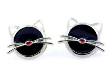 Super Lindo Plata y Negro Gatita Kitty Cat Aretes
