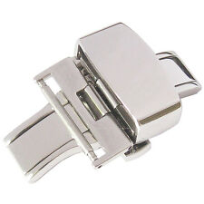 18mm Fluco German-Made Stainless Steel Silver Butterfly Deployant Clasp Buckle