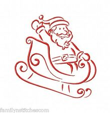Outline Santa 10 Machine Embroidery Designs on CD in 4 sizes