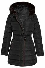 Womens Warm Trim Hooded Fur Coat Long Padded Quilted Faux Winter UK Sizes 8-16