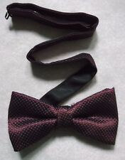 VINTAGE MENS DICKIE BOW TIE BOWTIE 1990s SHIMMERY BURGUNDY WINE MARKS & SPENCER