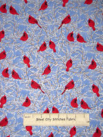 Cardinal Snow Branches Christmas Cotton Fabric By Yard Timeless Treasures CM1952
