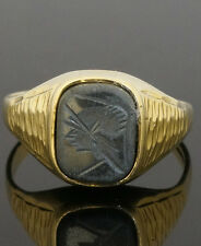 9Carat Yellow Gold Hematite Centurion Signet Ring (Size R) 8x10mm Head