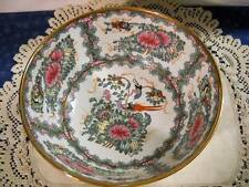 "Chinese Porcelain Decorative Asian Bowl Birds Butterfly Famille Rose 10"" Large"