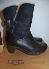 NEW Womens Black Leather W AMORET UGG BOOTS Sz 9