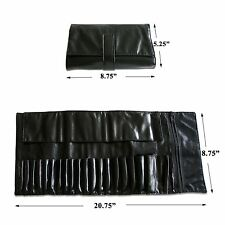 Beautydec Black Makeup Case Bag Holder Roll For 20 Pcs Cosmetic Brush Set Kit