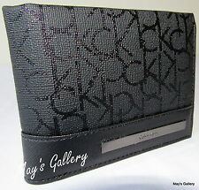 Calvin Klein Passcase Wallet BiFold Bill Faux Leather Purse Bag case Men CK NWT