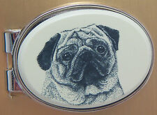 Money Clip Oval Barlow Scrimshaw Carved Painted Art Pug Dog Silver 539470 NEW