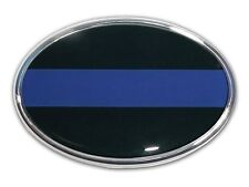 Thin Blue Line Police Oval Chrome Car/Truck Emblem High Quality Made in the USA