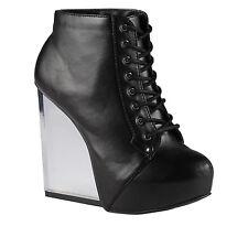 Spring Trilica-96 Black Platform Wedge Heels Ankle Boots 6.5