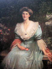 """Art Oil painting Waterhouse - Lady Violet Henderson with roses in landscape 36"""""""