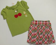 NWT 5T Gymboree Cherry Cute green top & red blue pink plaid pleated skirt set