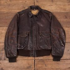 "Mens Schott Vintage Leather Flight Bomber Jacket Brown L 46"" R3822"