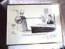 FRAMED POLITICAL CARTOON BY PAT OLIPHANT SUPREME COURT INSCRIBED SIGNED 1981