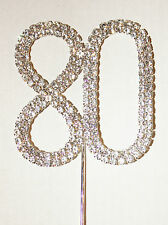 Number 80, Large Diamante Cake Topper. Stunning Birthday, Celebration Cakes